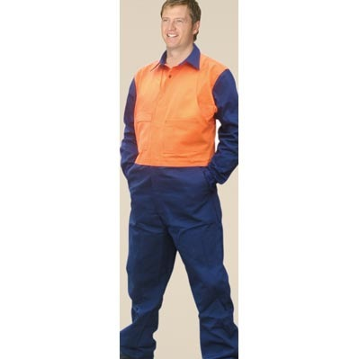 High Visibility Action Back Coverall In Heavy Cotton, Pre-shrunk Drill