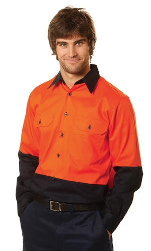 Mens High Visibility Cool-Breeze Cotton Twill Safety Shirts. Long Sleeve