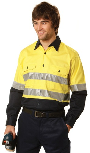 Mens High Visibility Cool-Breeze Cotton Twill Safety Shirts With Reflective 3M Tapes