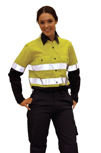 Ladies Long Sleeve Safety Shirt with 3M Tapes