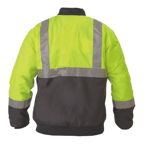 2 Tone Hi Vis Day And Night Bomber Jacket 3M Reflective Tape