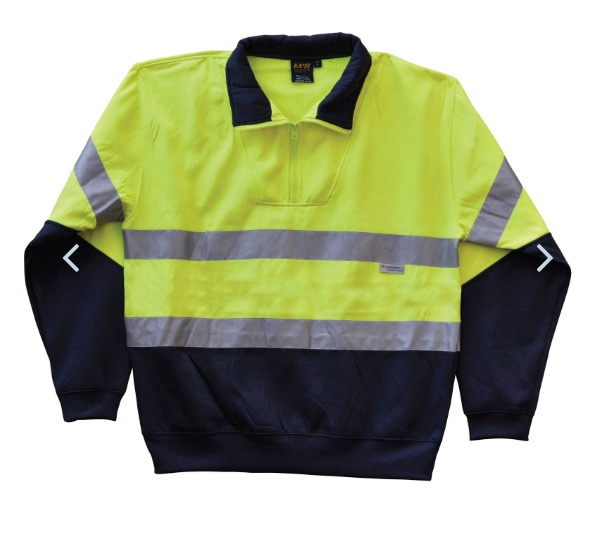 Mens High Visibility Long Sleeve Fleecy Sweat With Collar and 3M Tapes