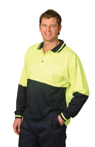 High Visibility TrueDry Long Sleeve Safety Polo
