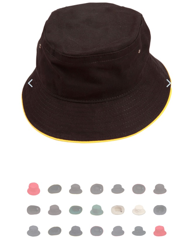 Heavy brushed cotton contrast sandwich bucket hat