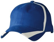 100% brushed cotton twill baseball cap with X contrast stripe