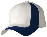 100% brushed cotton twill baseball cap with contrast stripe