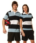 Ladies Yarn Dyed 3-tone Short Sleeve Rugby