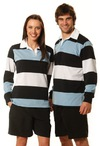 Ladies Yarn Dyed 3-tone Long Sleeve Rugby