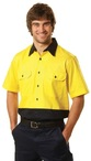 Mens High Visibility Cool-Breeze Cotton Twill Safety Shirts. Short Sleeve