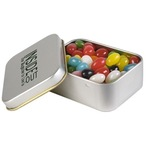 Assorted Colour Jelly Beans In Silver Rectangular Tins