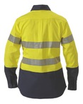 2 Tone Ladies Hi Vis Drill Shirt 3M Reflective Tape - Long Sleeve