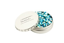 Candle Tin Filled with Corporate Coloured Tiny Humbugs 50G