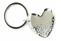Large Diamante Heart Keyring