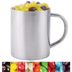 Corporate Colour Mini Jelly Beans in Stainless Steel Mug