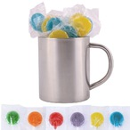 Corporate Colour Lollipops in Stainless Steel Mug