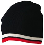 Knitted 100% acrylic with contrast stripes beanie