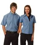 Ladies Wrinkle Free Short Sleeve Chambray Shirts
